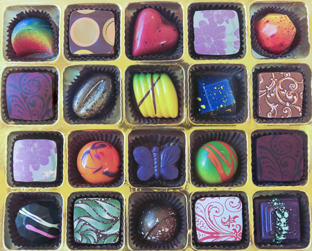 crafted: A Golden Tray of Colorful Hand Crafted Chocolates