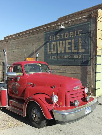 refurbished: Bisbee, Arizona - January 3: The historic Lowell district on January 3, 2015, in Bisbee, Arizona. A refurbished classic GMC diesel truck in historic Lowell, Arizona. Editorial
