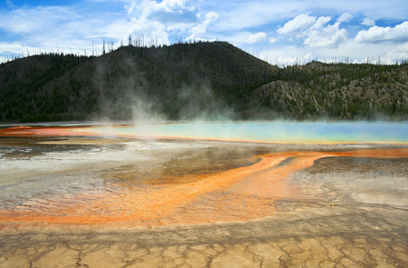 thermal spring: This grand prismatic spring is but one of the amazing geothermal wonders seen in Yellowstone National Park, Wyoming. Stock Photo