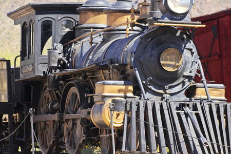 gunfights: Tucson, Arizona - March 9: Old Tucson on March 9, 2015, in Tucson, Arizona. A steam locomotive welcomes tourists to historic Old Tucson  where gunfights and barroom brawls are staged in a celebration of the Old West.