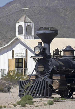 Tucson, Arizona - March 9: Old Tucson on March 9, 2015, in Tucson, Arizona. A steam locomotive welcomes tourists to historic Old Tucson  where gunfights and barroom brawls are staged in a celebration of the Old West.