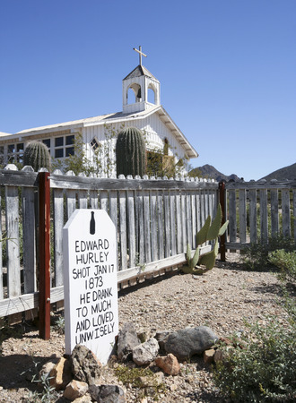Tucson, Arizona - March 9: Old Tucson on March 9, 2015, in Tucson, Arizona. A humorous grave marker welcomes tourists to historic Old Tucson  where gunfights and barroom brawls are staged in a celebration of the Old West.