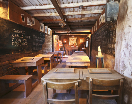 dunce cap: Tucson, Arizona - March 9: Old Tucson on March 9, 2015, in Tucson, Arizona. A one room schoolhouse on the frontier welcomes tourists to historic Old Tucson  where gunfights and barroom brawls are staged in a celebration of the Old West.