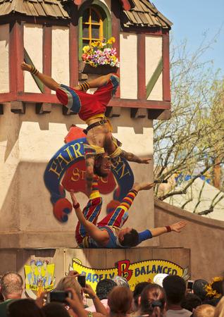 Apache Junction, Arizona - March 14: The Arizona Renaissance Festival on March 14, 2015, near Apache Junction, Arizona. A comedy acrobat troupe thrills visitors in a show at the 27th Annual Arizona Renaissance Festival held near Phoenix.