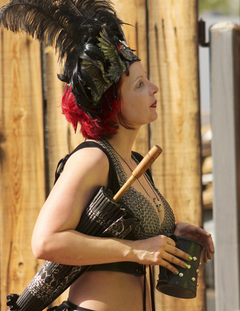 apache: Apache Junction, Arizona - March 14: The Arizona Renaissance Festival on March 14, 2015, near Apache Junction, Arizona. A participant in costume at the 27th Annual Arizona Renaissance Festival held near Phoenix.
