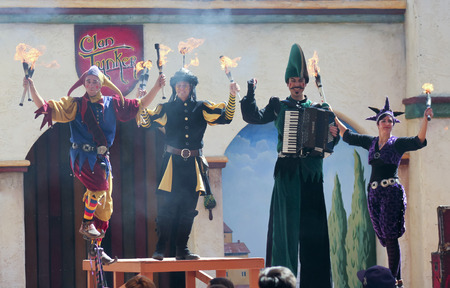 the quartet: APACHE JUNCTION, ARIZONA - MARCH 14: The Arizona Renaissance Festival on March 14, 2015, near Apache Junction, Arizona. A Clan Tynker quartet entertains visitors in a comedy show at the 27th Annual Arizona Renaissance Festival held near Phoenix.