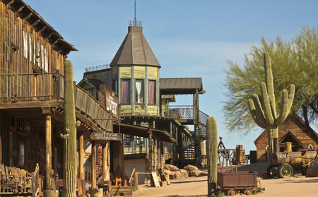 livery: APACHE JUNCTION, ARIZONA - MARCH 15: Goldfield Ghost Town on March 15, 2015, near Apache Junction, Arizona. A quiet Goldfield Ghost Town on a sunny day just before the gates open.