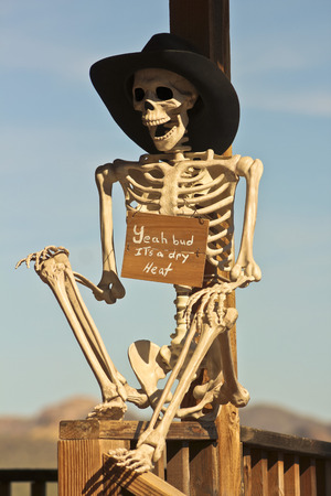 A Cowboy Skeleton with a Sign Sits Against a Weathered Wooden Post