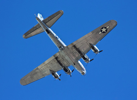 sentimental: MESA, ARIZONA - MARCH 15: The Sentimental Journey aircraft on March 15, 2015, in the skies near the Commemorative Air Force Museum in Mesa, Arizona. Sentimental Journey, a B-17G Flying Fortress, is based at the Commemorative Air Force Museum in Mesa, Ariz Editorial