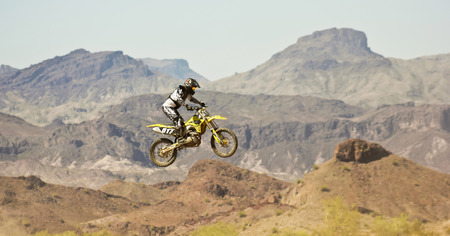LAKE HAVASU CITY, ARIZONA - JUNE 7: SARA Park on June 7, 2015, in Lake Havasu City, Arizona. A motocross racer practices at SARA Park in Lake Havasu City in Arizona.