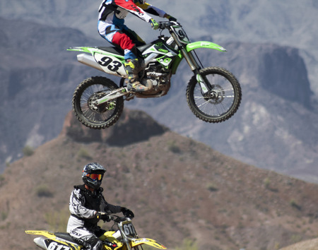 LAKE HAVASU CITY, ARIZONA - JUNE 7: SARA Park on June 7, 2015, in Lake Havasu City, Arizona. A pair of motocross racers practice at SARA Park in Lake Havasu City in Arizona.