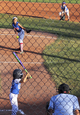 little league: SUMMERLIN, NEVADA - JUNE 4: A Summerlin Little League girls game on June 4, 2015, in Las Vegas, Nevada. The batter eyes the ball in a Summerlin Little League game in Summerlin in Nevada.