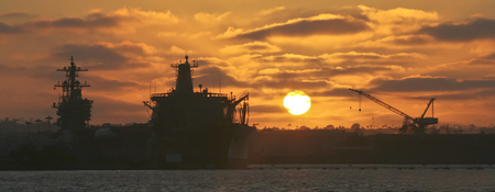 superstructure: A Sunset Over the Ship Superstructures of Naval Base Coronado in San Diego Stock Photo