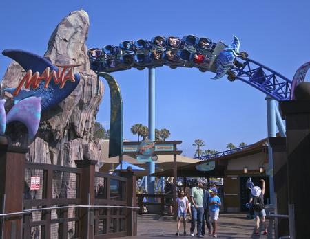 thrilling: SAN DIEGO, CALIFORNIA, JUNE 25. SeaWorld on June 25, 2015, in San Diego, California. Visitors ride the thrilling Manta roller coaster at SeaWorld in San Diego in California. Editorial