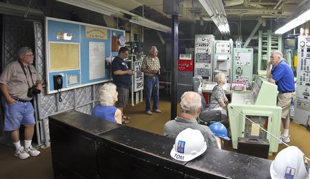 control center: SAHUARITA, ARIZONA, JULY 22. The Titan Missile Museum on July 22, 2015, in Sahuarita, Arizona. A Titan Missile Museum Control Center Tour in Sahuarita in Arizona.