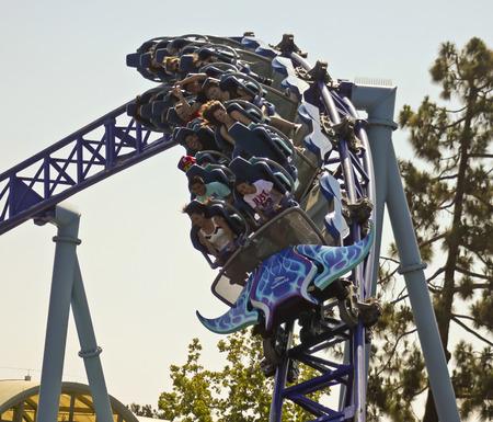 seeker: SAN DIEGO, CALIFORNIA, JUNE 25. SeaWorld on June 25, 2015, in San Diego, California. Visitors ride the thrilling Manta roller coaster at SeaWorld in San Diego in California. Editorial