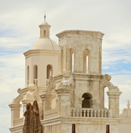 tucson: TUCSON, ARIZONA, JULY 23. Mission San Xavier del Bac on July 23, 2015, near Tucson, Arizona. Mission San Xavier del Bac, a historic Spanish Catholic mission near Tucson, Arizona. Editorial