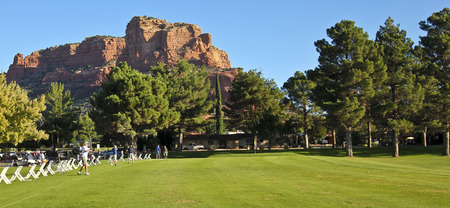 redstone: SEDONA, ARIZONA, OCTOBER 14. Oakcreek Country Club on October 14, 2015, in Sedona, Arizona. A driving range on the Oakcreek Country Club golf course in Sedona, Arizona. Editorial