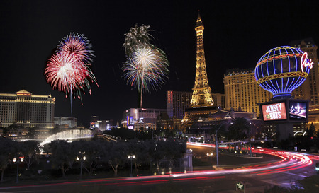 bellagio fountains: LAS VEGAS, NEVADA, JANUARY 1. The intersection of Bellagio and Las Vegas Boulevard on January 1, 2016, in Las Vegas, Nevada. A Fireworks Celebration at Bellagio and Las Vegas Boulevard for the New Year in Las Vegas, Nevada.