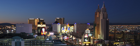LAS VEGAS, NEVADA, DECEMBER 29. Las Vegas Boulevard on December 29, 2015, in Las Vegas, Nevada. An aerial view of the south end of Las Vegas Boulevard in Las Vegas, Nevada, just before sunrise.