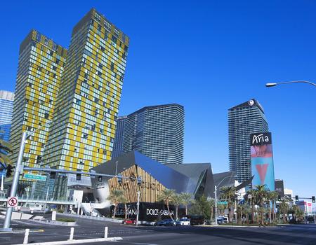 veer: LAS VEGAS, NEVADA, DECEMBER 28. 3800 Las Vegas Blvd on December 28, 2015, in Las Vegas, Nevada. The  Veer Towers, Cosmopolitan, Crystals, and the Aria on Las Vegas Boulevard in Las Vegas, Nevada.