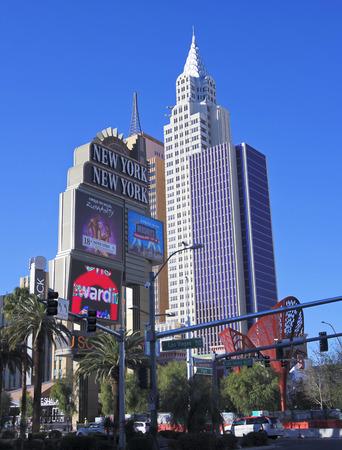 cirque du soleil: LAS VEGAS, NEVADA, DECEMBER 28. Las Vegas Blvd on December 28, 2015, in Las Vegas, Nevada. The  New York New York Hotel & Casino on Las Vegas Boulevard in Las Vegas, Nevada.