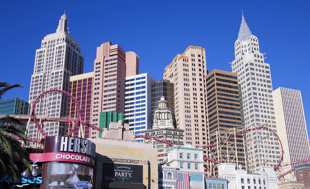 hersheys: LAS VEGAS, NEVADA, DECEMBER 28. Las Vegas Blvd on December 28, 2015, in Las Vegas, Nevada. The  New York New York Hotel & Casino on Las Vegas Boulevard in Las Vegas, Nevada.