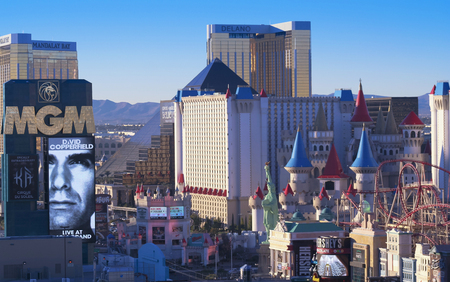 LAS VEGAS, NEVADA, DECEMBER 28. Las Vegas Boulevard on December 28, 2015, in Las Vegas, Nevada. An aerial view of the south end of Las Vegas Boulevard in Las Vegas, Nevada.