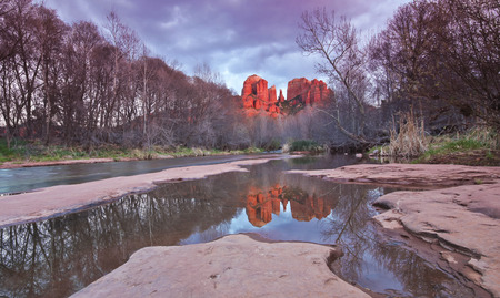 rock creek: A View of Sedonas Oak Creek and Cathedral Rock at Sunset