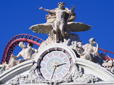 messengers of god: LAS VEGAS, NEVADA, DECEMBER 28. Las Vegas Blvd on December 28, 2015, in Las Vegas, Nevada. The  New York New York Hotel & Casino Clock on Las Vegas Boulevard in Las Vegas, Nevada. Editorial