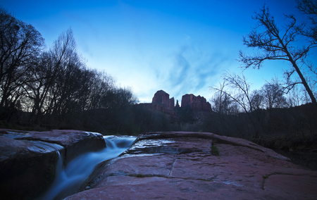 rock creek: A View of Sedonas Oak Creek and Cathedral Rock Before Sunrise