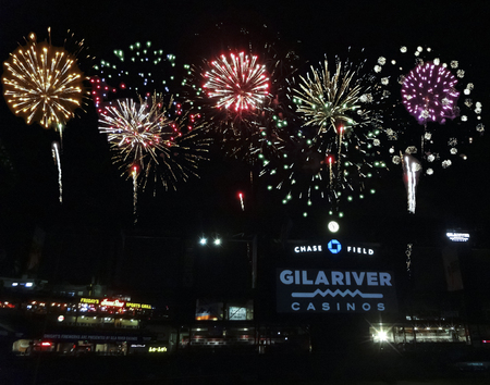 ballgame: PHOENIX, ARIZONA, APRIL 29: Chase Field on April 29, 2016, in Phoenix, Arizona. The Friday night fireworks show after the ballgame at Chase Field, the home of MLBs Arizona Diamondbacks.