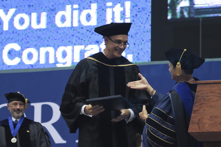 doctoral: FLAGSTAFF, ARIZONA, MAY 13. Northern Arizona University on May 13, 2016, in Flagstaff, Arizona. An Honorary Doctoral Degree is bestowed upon David J. Mangelsdorf for his work in Pharmacology at the Northern Arizona University Commencement, 2016.
