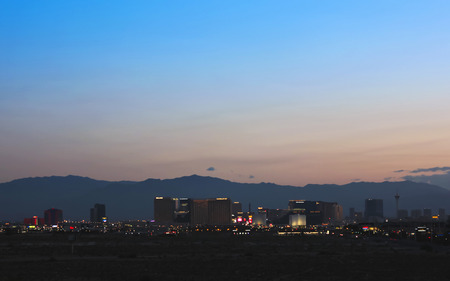 LAS VEGAS, NEVADA, MAY 24. Las Vegas Boulevard on May 24, 2016, in Las Vegas, Nevada. A view of the south end of Las Vegas Boulevard looking north just before sunrise in Las Vegas, Nevada.
