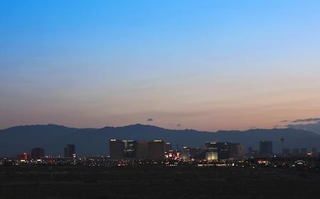 delano: LAS VEGAS, NEVADA, MAY 24. Las Vegas Boulevard on May 24, 2016, in Las Vegas, Nevada. A view of the south end of Las Vegas Boulevard looking north just before sunrise in Las Vegas, Nevada.