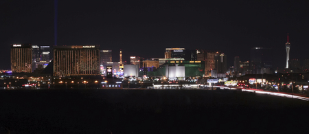 tropicana: LAS VEGAS, NEVADA, MAY 24. Las Vegas Boulevard on May 24, 2016, in Las Vegas, Nevada. A view of the south end of Las Vegas Boulevard looking north at night in Las Vegas, Nevada.