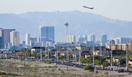 gass: LAS VEGAS, NEVADA, MAY 24. Las Vegas Boulevard on May 24, 2016, in Las Vegas, Nevada. A view of the south end of Las Vegas Boulevard looking north in Las Vegas, Nevada. Editorial
