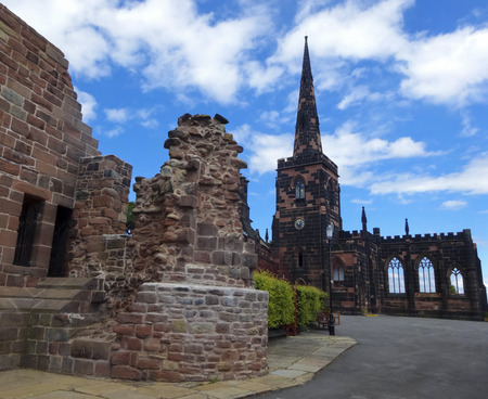 priory: BIRKENHEAD, ENGLAND, JULY 3. Birkenhead Priory on July 3, 2016, in Birkenhead, England. Birkenhead Priory and Museum and St. Marys Tower in Birkenhead, England. Editorial