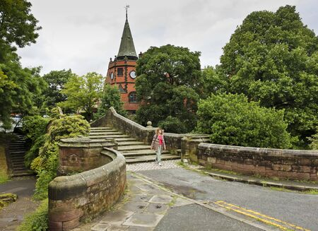 buttresses: PORT SUNLIGHT, ENGLAND, JUNE 29. The Dell Bridge on June 29, 2016, in Port Sunlight, England. The historic Dell Bridge in Port Sunlight, England. Editorial