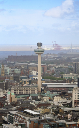 LIVERPOOL, ENGLAND, JULY 2. The Radio City Tower on July 2, 2016, in Liverpool, England. Liverpool landmarks include Merseyside,  Radio City Tower, and the Municipal Building.