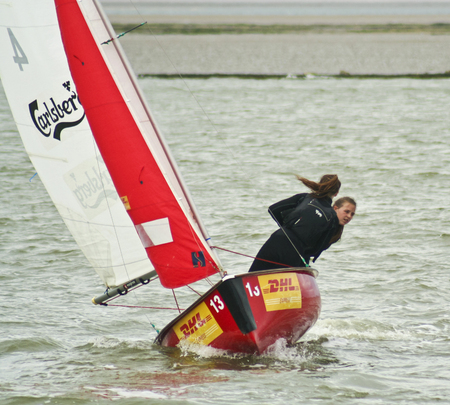 WEST KIRBY, ENGLAND, JUNE 26. The Marine Lake on June 26, 2016, in West Kirby, England. A two-person team races a sailboat in the Marine Lake in West Kirby, England. Editorial