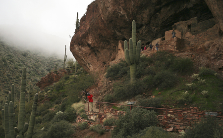 descends: ROOSEVELT, ARIZONA, JANUARY 16. Tonto National Monument on January 16, 2017, near Roosevelt, Arizona. Fog Descends on the Lower Cliff Dwelling at Tonto National Monument in Arizona. Editorial