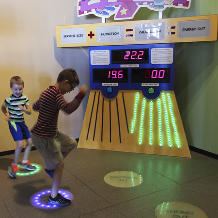 reynolds: LAS VEGAS, NEVADA, DECEMBER 29. The Discovery Childrens Museum on December 29, 2016, in Las Vegas, Nevada. A Pair of Boys Learn About Calories and Energy at the Discovery Childrens Museum in Las Vegas, Nevada. Editorial