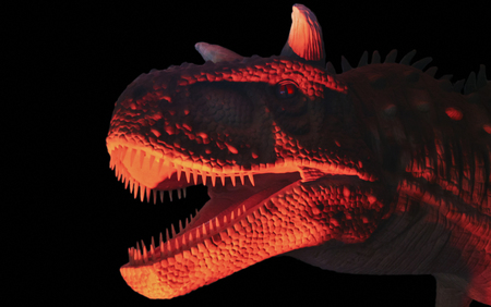 A Flesh Eating Carnotaurus Dinosaur in Red and Black, Whose Name Means Meat Eating Bull