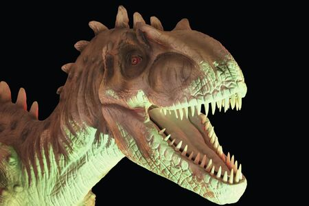 A Portrait of an Allosaurus Dinosaur Against a Black Background