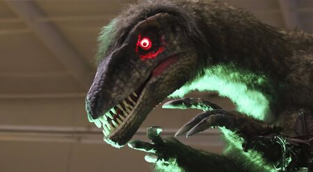 genetically engineered: A Feathered Velociraptor Dinosaur Prowls a Genetics Research Facility