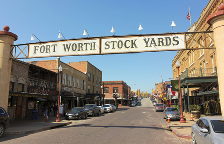 yards: FORT WORTH, TEXAS, MARCH 15. The Fort Worth Stockyards on March 15, 2017, in Fort Worth, Texas. A Welcome Sign at the Fort Worth Stockyards historic district in Fort Worth, Texas.