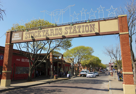 yards: FORT WORTH, TEXAS, MARCH 15. The Fort Worth Stockyards on March 15, 2017, in Fort Worth, Texas. A Sign for the Stockyards Station Mall in the Fort Worth Stockyards historic district in Fort Worth, Texas.