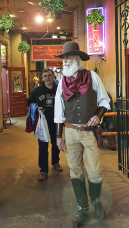 gunfighter: FORT WORTH, TEXAS, MARCH 15. The Fort Worth Stockyards on March 15, 2017, in Fort Worth, Texas. A Gunfighter in Period Clothing at Stockyards Station in the Fort Worth Stockyards historic district in Fort Worth, Texas Editorial