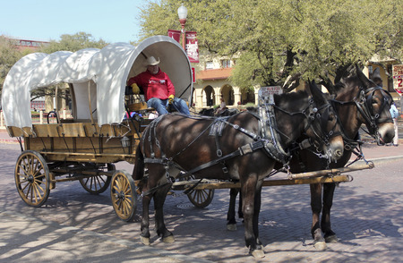 FORT WORTH, TEXAS, MARCH 15. The Fort Worth Stockyards on March 15, 2017, in Fort Worth, Texas. A Covered Wagon, Mule Team and Driver at the Fort Worth Stockyards historic district in Fort Worth, Texas